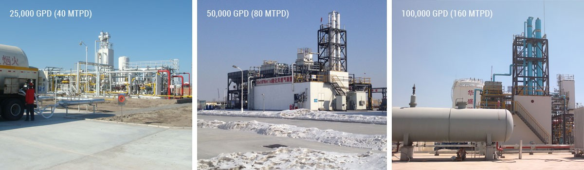 Skid-mounted liquefaction plants